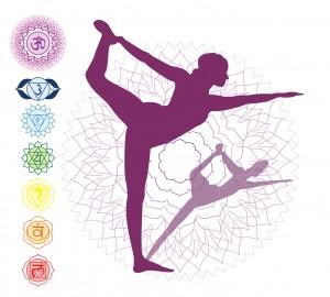 7 Chakras Asana yoga purple