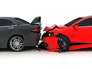 Car crash on white background red cars black back pain whiplash